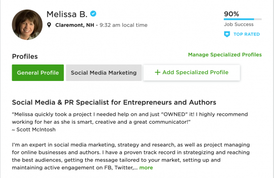 Melissa Burch Upwork Top Rated Book Marketer
